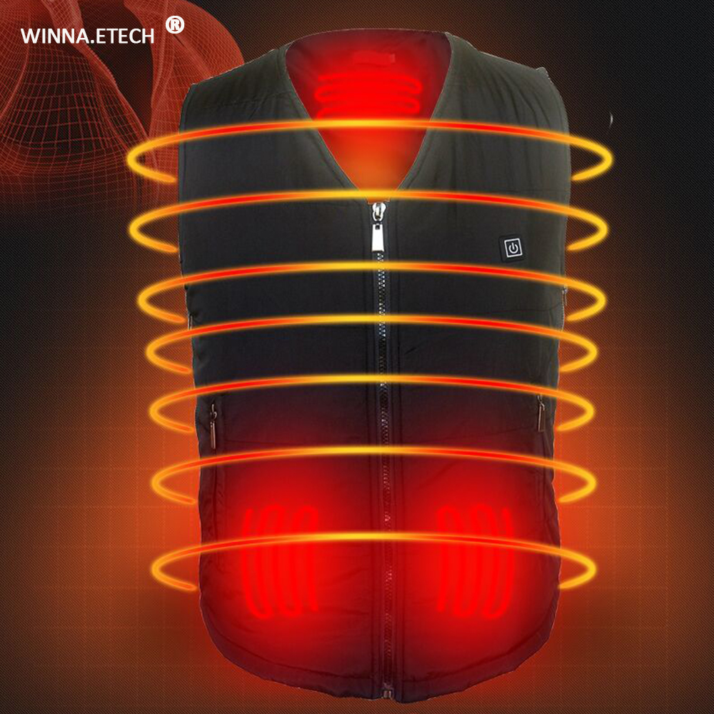 Good Gift 3 Level Intelligent Heated Vest USB Charging Heating Vest Winter Thermal Vest for Men Women Hunting Skiing Hiking Use electric heating heated down vest for skiing hiking camping winter men vest keep body warm for women and men with batteries