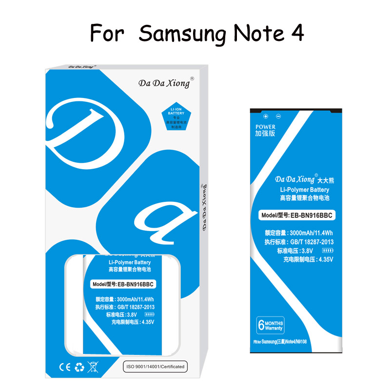 Original Da Da Xiong <font><b>Battery</b></font> EB-BN916BBC <font><b>3000mAh</b></font> For Samsung Galaxy <font><b>Note</b></font> <font><b>4</b></font> N9100 N9109W N9108 N9106V Replacement <font><b>Battery</b></font> image