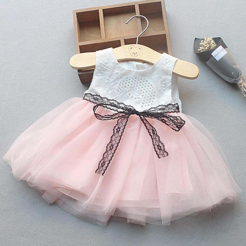 Brand New 2017 Princess Dress Baby Dress Summer Fashion Style Lace Net Yarn Sleeveless Bow Tie Dress Girls Clothing