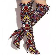 Sexy Mixed Color Printed Leather Lace-up Tight High Boots Open Toe Bandage Over The Knee Boots Women Rome Style Dress Shoes Size all over printed open shoulder dress