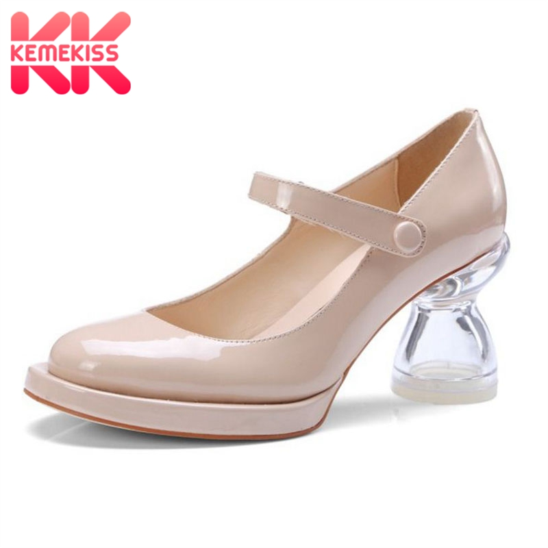 KemeKiss Women High Heel Pumps Real Leather Transparent Stange Heels Round Toe Shoes Woman Korean Party Footwear Size 34-39 kemekiss women slippers clip toe flat heel crystal shine women summer shoes fashion korean holidays footwear size 36 40