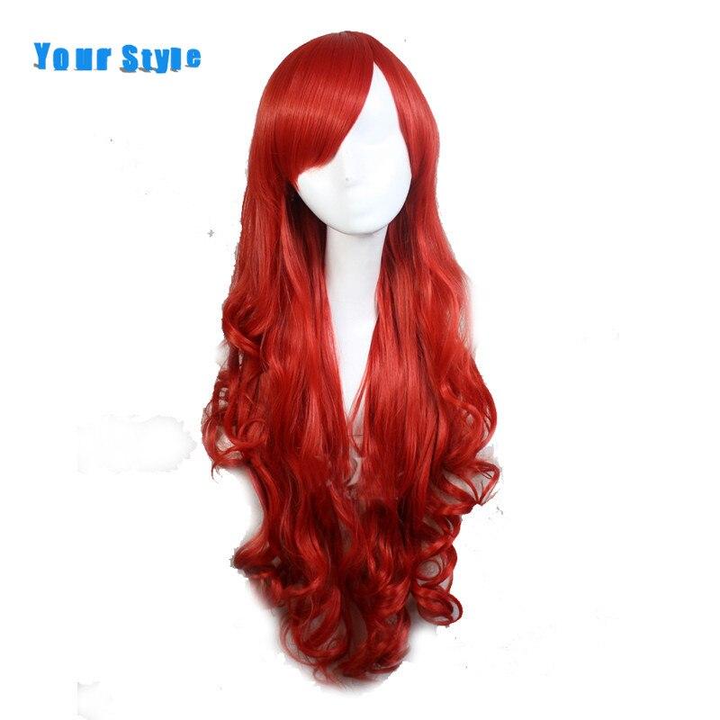 Ваш Стиль Синтетические длинные волнистые Косплэй женщин парик для Детский костюм для вечеринок красный натуральный кожи головы и волос па... ...
