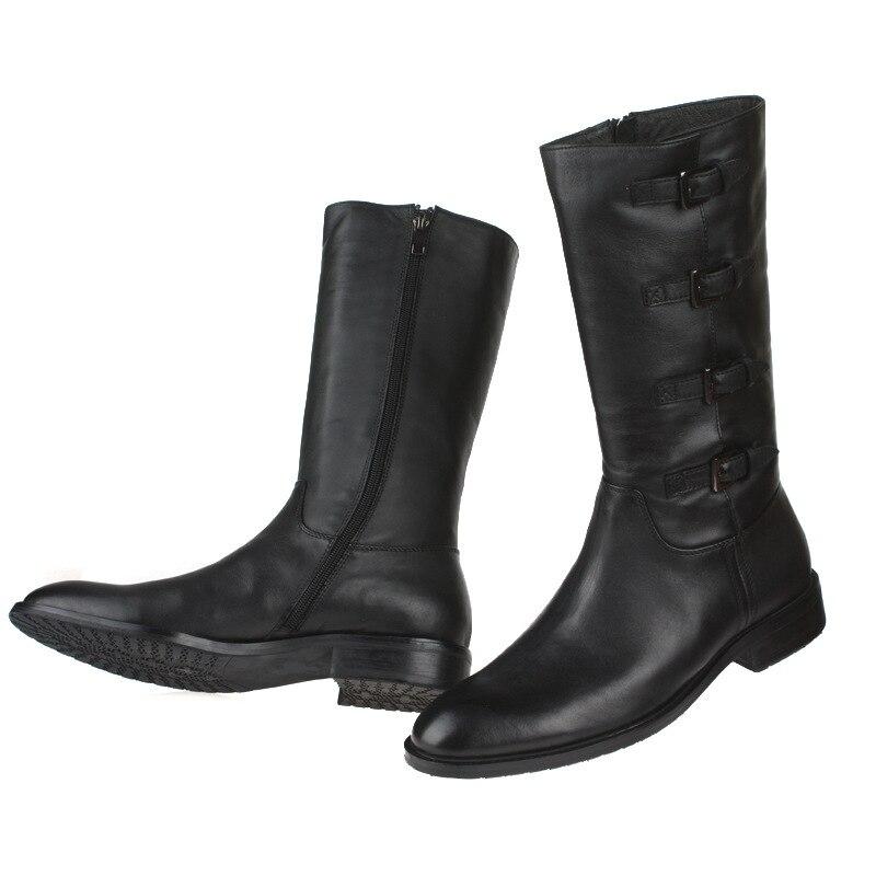 Nuevo 2017 Estilo Punk Rock Para Hombre de Rodilla Botas Altas Hebilla  Negro Botas de Invierno Zapatos de Cuero Genuino Botas Militares Hombre  Tamaño  38 44 ... 35e75182b78
