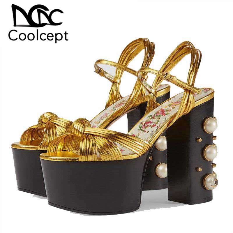 Coolcept Women High Heel Sandals String Bead Thick Heels Fashion Buckle Gold Sandals Sexy Party Summer Shoes Women Size 34-42Coolcept Women High Heel Sandals String Bead Thick Heels Fashion Buckle Gold Sandals Sexy Party Summer Shoes Women Size 34-42