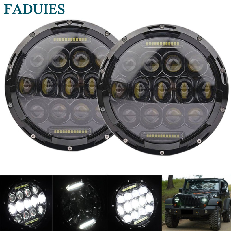 FADUIES 2pcs/set 7 inch 75W LED Headlights bulb For Jeep Wrangler JK CJ LJ Hummer H1 H2 LED Projector Driving Lamps White DRL 2x dot 7 inch led headlights turn signal drl bulbs set kit projector 90w for jeep wrangler jk lj jku tj cj sahara rubicon