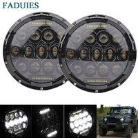 FADUIES 2pcs Set 7 Inch 75W LED Headlights Bulb For Jeep Wrangler JK CJ LJ Hummer