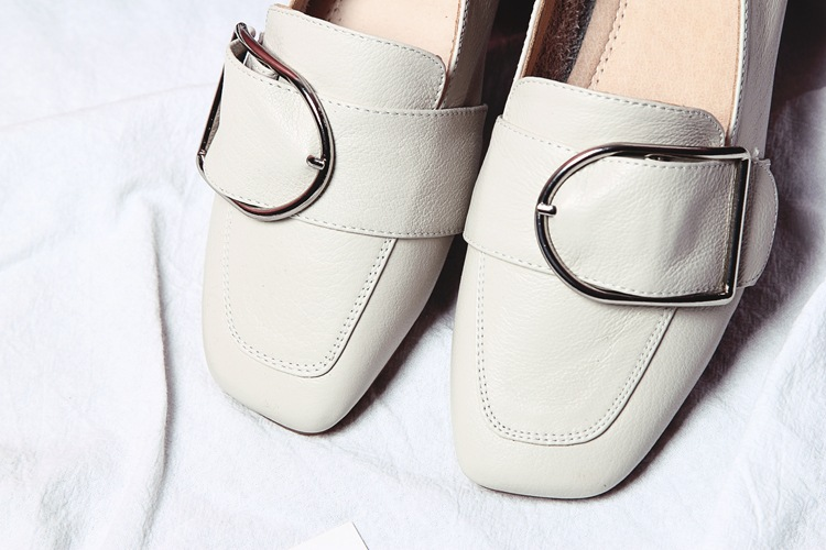 Careaymade-New 2017 Spring,Mori girl genuine leather square toe shoes,Women metal ring leisure time comfortable shoes,2 colors
