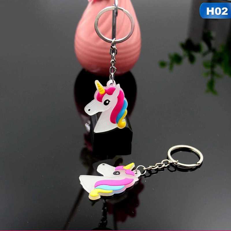 1 pcs PVC Unicórnio Cavalo Liga Chave Titular Anel Chave Chaveiro Luminoso de Incandescência Para Meninas Mulheres Presente de Jóias Por Atacado