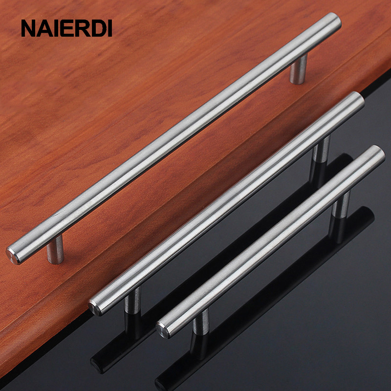 "NAIERDI Cabinet Handles Furniture Drawer Pulls Brushed Hole Space 2""~10"" Kitchen Cupboard Cabinet Door Hardware Knobs(China)"