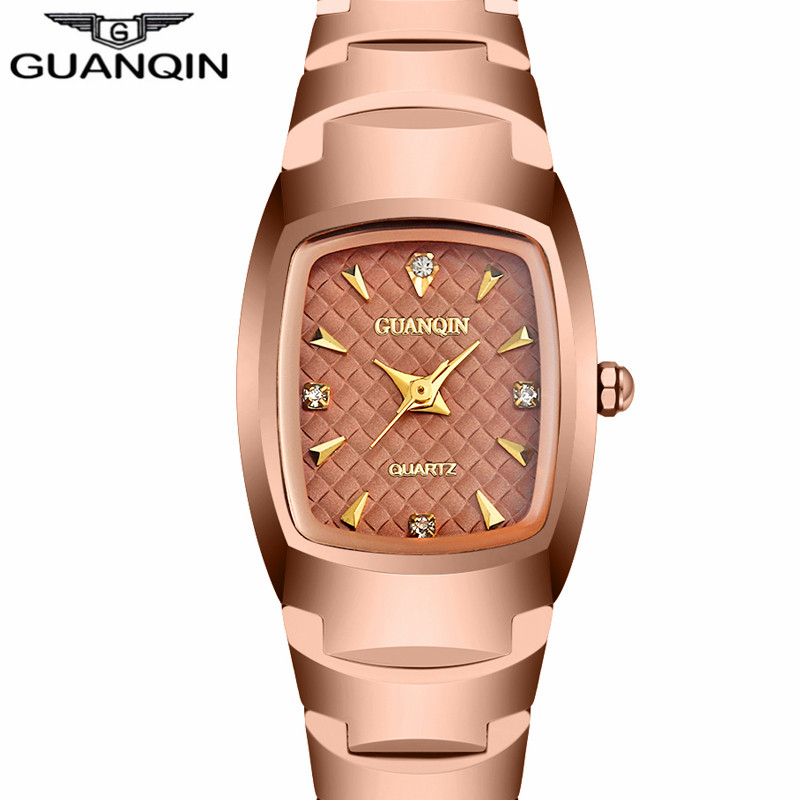 GUANQIN Women's Fashion Rectangle Quartz Watch Women Series Luxury brand Tungsten Steel waterproof Business Bracelet Watches New guanqin fashion women watch gold silver quartz watches waterproof tungsten steel watch women business bracelet gq30018 b