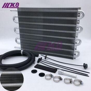 Бесплатная доставка алюминиевый дистанционный трансмиссионный масляный радиатор/Авто-ручной Преобразователь радиатора 8 ряд Универсальн...