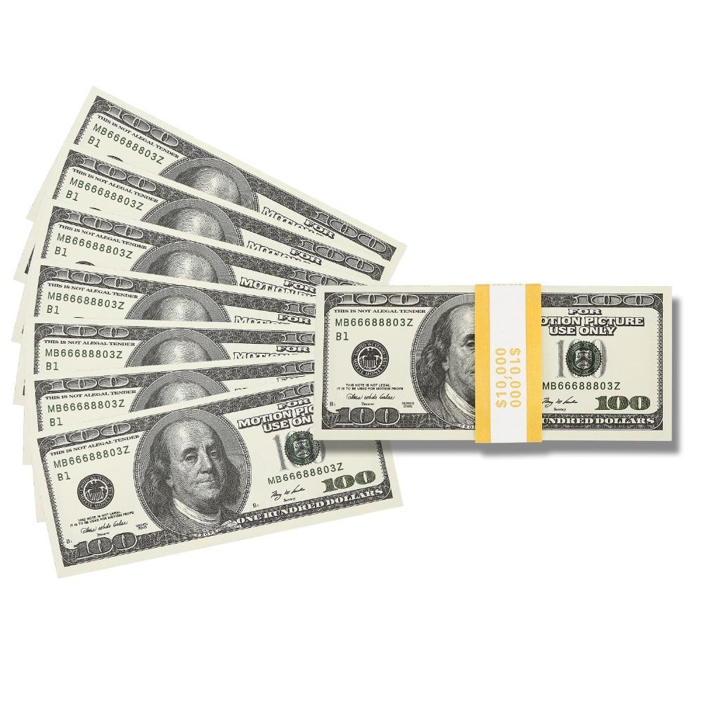 Prop dinero que parece Real película dinero falso impresión completa 2 de $100 billetes de dólar pila dinero copia dinero $10000 versión antigua
