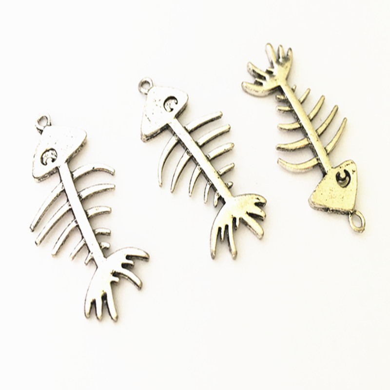 Jewelry Sets & More Jewelry & Accessories 5pcs/lot Antique Silver Double Sided Fish Bones Charms Necklace Pendant Mini Pendant Connector Charms Accessories 21mmx43mm Pretty And Colorful