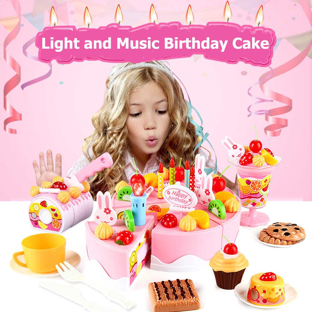 Enjoyable 37 54 75Pcs Pretend Play Birthday Cake With Music Light Diy Fruit Personalised Birthday Cards Veneteletsinfo