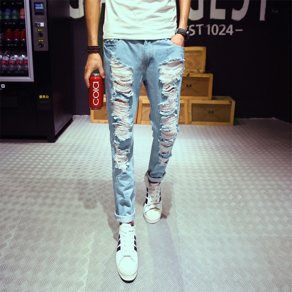 Fashion 2016 new ripped skinny jeans mens personality rock style jean pant slim skinny pants mens distressed jeans ripped