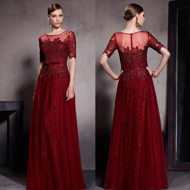 Newest 2016 Dark Red Prom Dresses With Sequin Bodice Square Neck ...