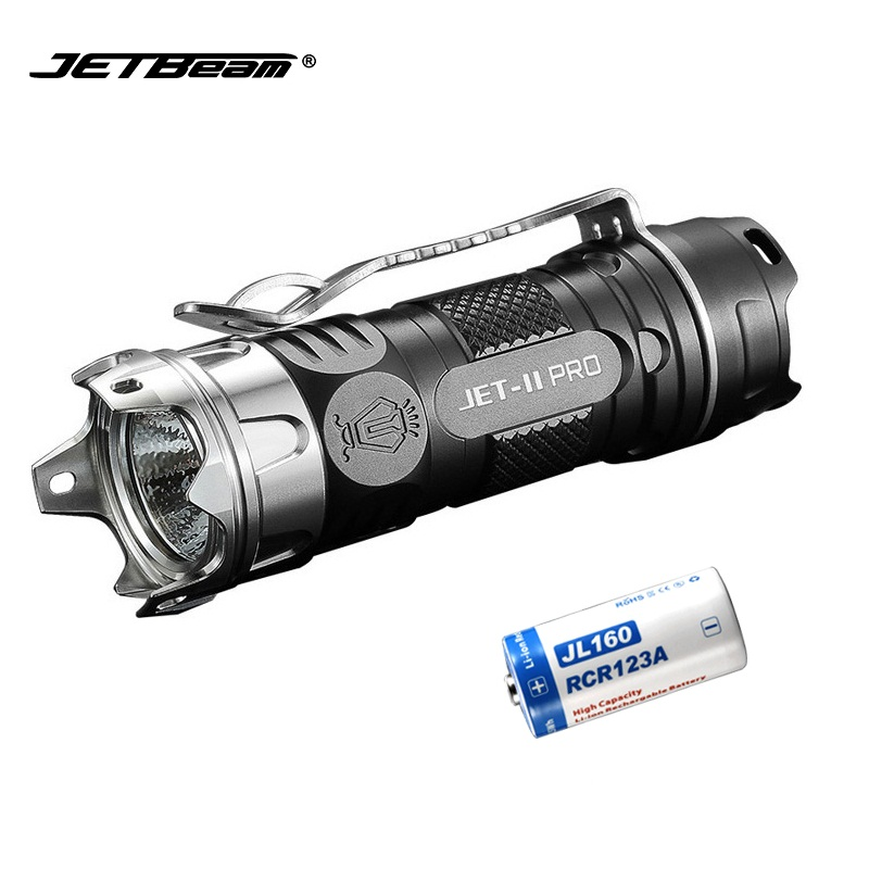 JETBEAM II PRO Mini LED Flashlight CREE XP-L HI LED 510 lumens for Self Defense with 1*CR123 Battery super jetbeam jet 3m pro updated jet iii m cree xp l led1100 lumens flashlight 170130
