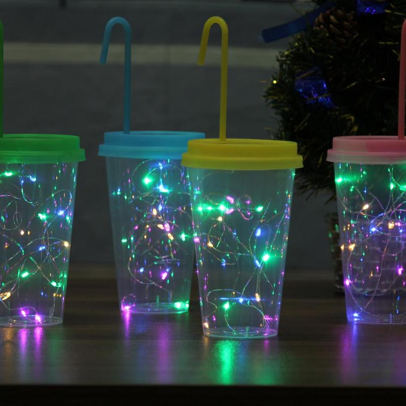 8pcs Solar Powered Night Light Noveltive Drinking Cup Lamp Holiday Lighting Party Decoration Home Christmas Fairy Light