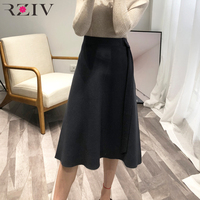 RZIV 2018 women knitted skirt bandaged and solid color high waisted skirt OL style fall A line