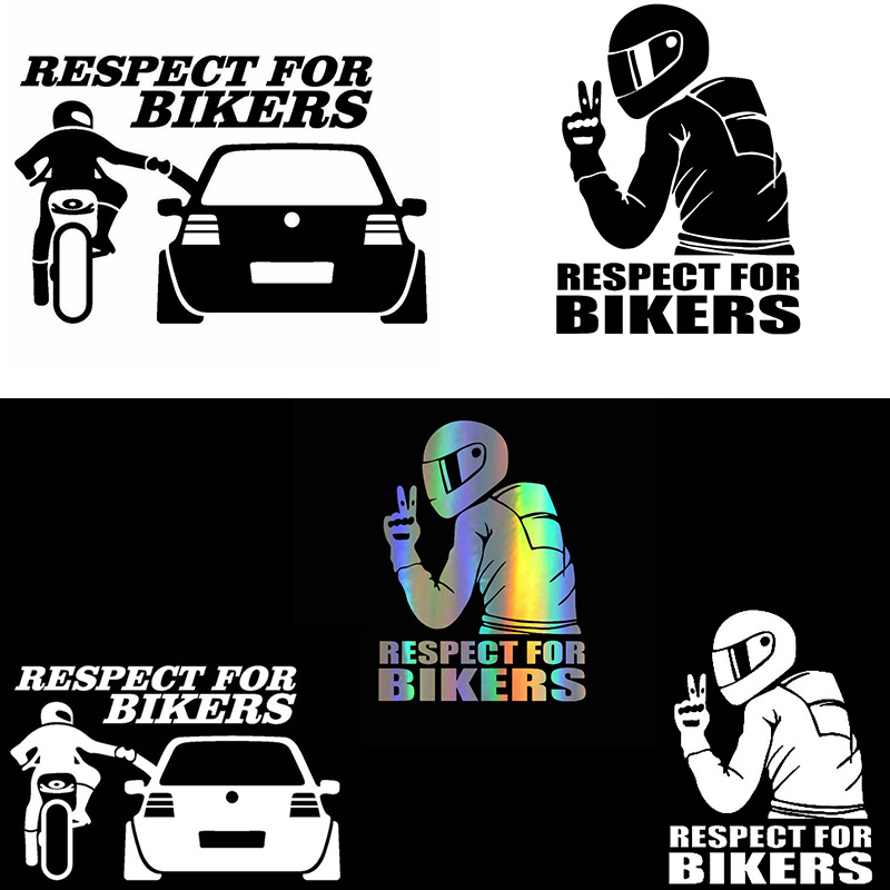 3D Respect for Cyclists Waterproof Reflective Biker Motorcycle Car Auto Accessoires Sticker Decal Funny JDM Vinyl On Car styling(China)
