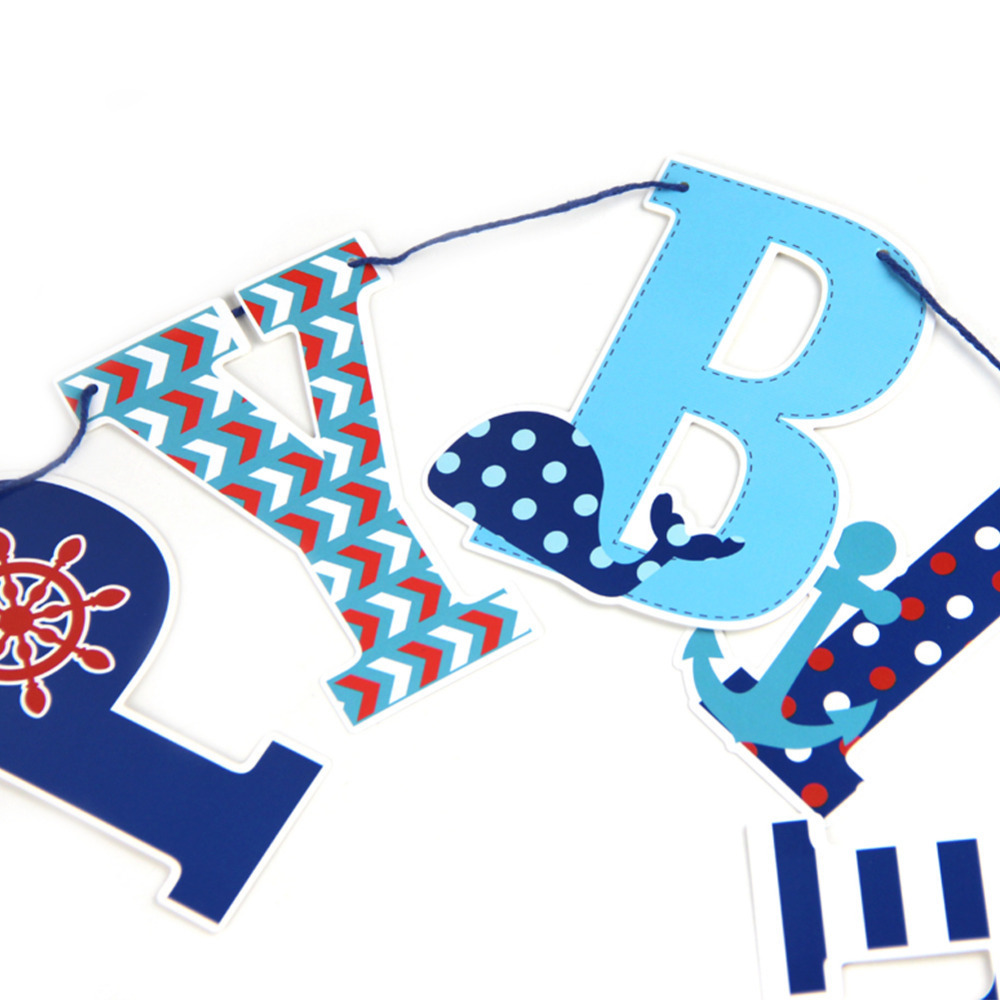 Happy Birthday Party Decorations Kids 1ps Set Red Navy Blue Banner
