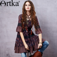 Artka Women S Summer New Boho Style Printed Lace Patchwork Chiffon Dress Half Sleeve Empire Waist