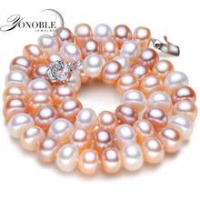 Verdadero de agua dulce collar de perlas para las mujeres, blanco natural de la perla collares de la joyería de la muchacha de cumpleaños mamá mejor regalo de calidad superior multi