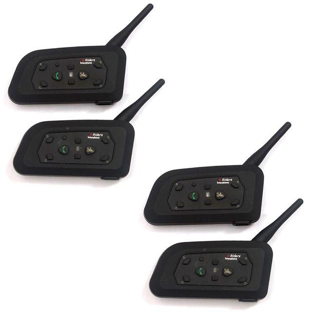 Envío Libre! 4 x BT Interphone Bluetooth Casco de La Motocicleta Intercom Headset V6 1200 M 6 Jinetes