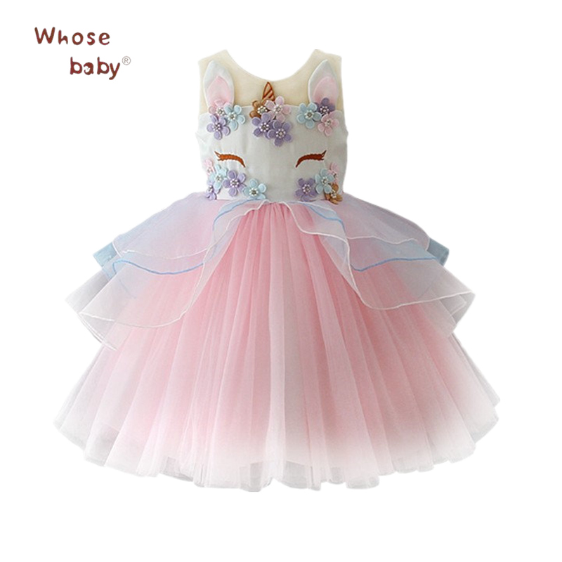 Girls Dresses Summer 2018 Unicorn Tutu Dress For Girls Toddler Party Wedding Baby Children Clothing Floral Princess Kids Clothes mottelee girls princess dress blue kids party tutu dresses birthday summer baby outfits floral toddler frock children clothing