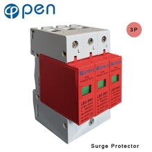 OPEN LBO-B60 Series Household SPD Surge Protector 3P 30kA 60kA 380VAC Low Voltage Arrester Device Red цена в Москве и Питере