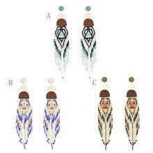 Vintage Acrylic Long Tassel Drop Earrings Handmade Boho Ethnic Seed Beads Pendant Earring Jewelry Bijoux women Statement