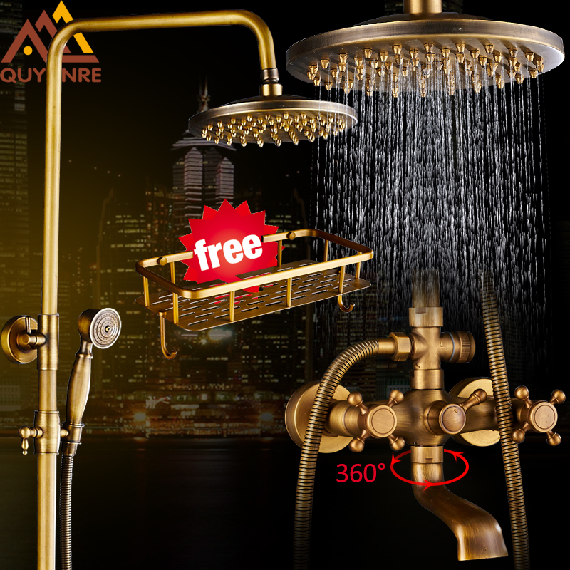 Quyanre Antique Brass Shower Faucets Set 8'' Rainfall Shower Commodity Shelf Dual Handle Mixer Tap Swivel Tub Spout Bath Shower quyanre matte black shower faucet set 4 way shower with commodity shelf bidet spray swivel tub spout 4 way mixer tap bath shower