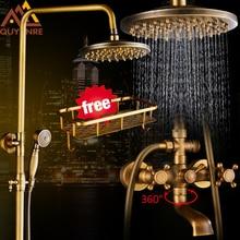 Quyanre Античная латунный смеситель набор 8 »осадков душ товар Полка двойной ручкой смеситель для душа кран Поворотный ванна носик для ванной душ
