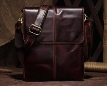 New Men Genuine Leather Messenger Bag Retro Oil Wax Handbag