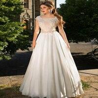 Свадебное платье трапециевидной формы 2019, кружевная шифоновая блуза без рукавов, свадебные платья с открытой спиной, длина до пола, Vestido De
