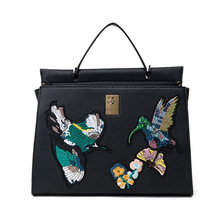 2017 Fashion Designer Bird Embroidered Retro Ladies Casual Tote Handbag Women's Crossbody Shoulder Bag Messenger Bags Bat Bag 3