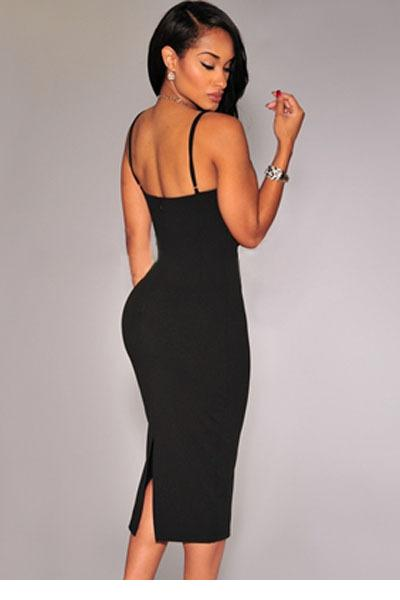 ecc6672c9cdf Dokotoo slim fit bodycon pencil party dresses Black Plunging V Neck Midi  Dress LC60017 sexy spaghetti strap 2017 women dress-in Dresses from Women's  ...