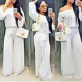 Adogirl 2016 White European Rompers Womens Jumpsuit Chiffon Strapless Slash Neck Sexy Loose With Belt Long Sleeve Overalls