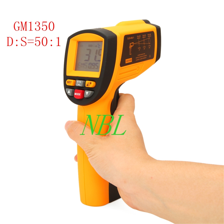 GM1350 50:1 LCD Infrared Thermometer Digital Gun Temperature Measurement Professional Industrial Pyrometer 0.1~1EM цены