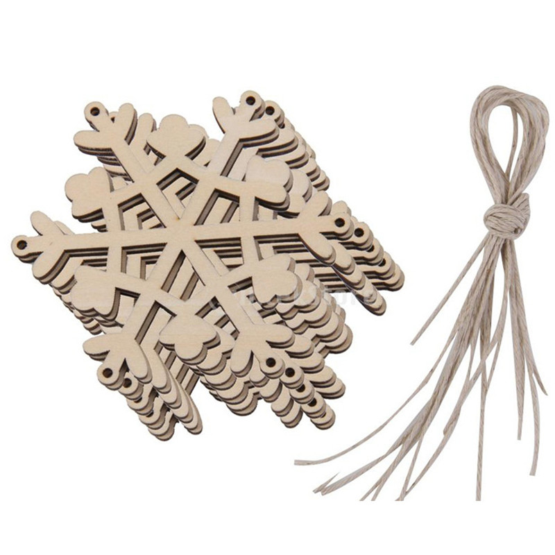 100pcs wooden christmas snowflake pendant wooden christmas ornaments small pendant wholesale - Wooden Christmas Decorations Wholesale