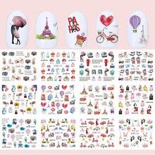 12 sztuk romantyczny Paris wzory naklejki do paznokci naklejki Cartoon perfumy suwaki na paznokcie okłady wskazówka Charms dekoracje TRBN1141 1152