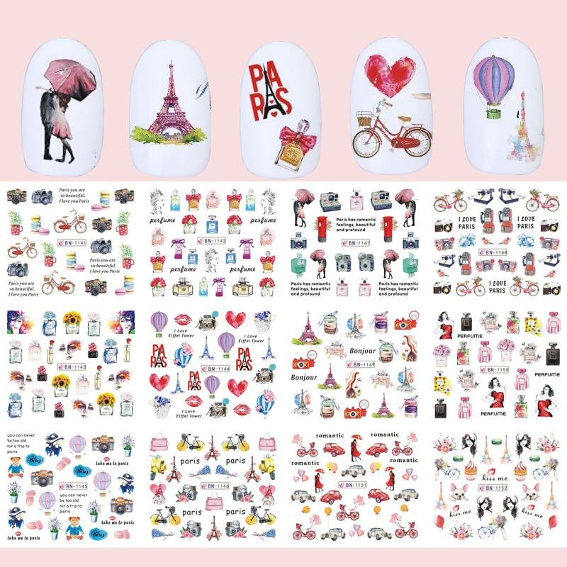 12pcs Romantic Paris Designs Nail Art Stickers Decals Cartoon Perfume Sliders On Nails Wraps Tip Charms Decoration TRBN1141-1152