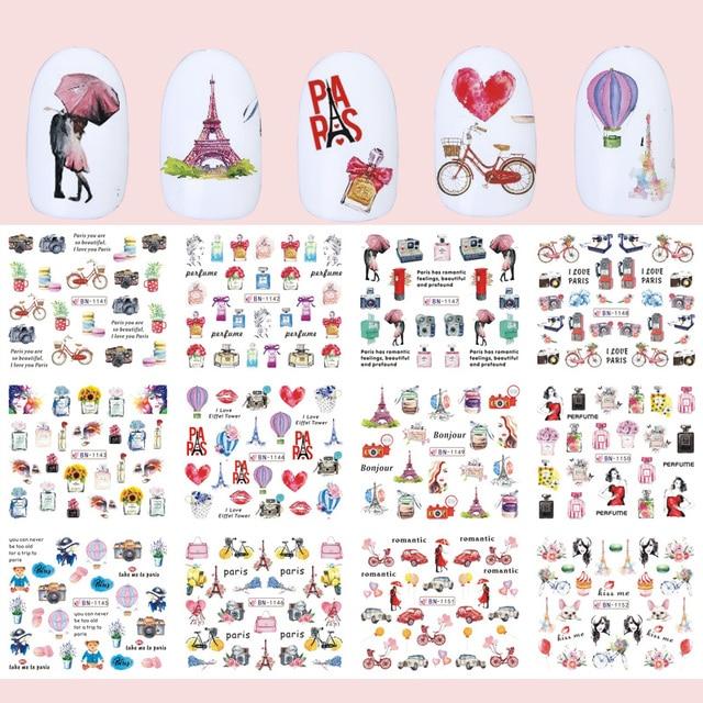 12pcs Romantic Paris Designs Nail Art Stickers Decals Cartoon Perfume Sliders On Nails Wraps Tip Charms Decoration TRBN1141 1152