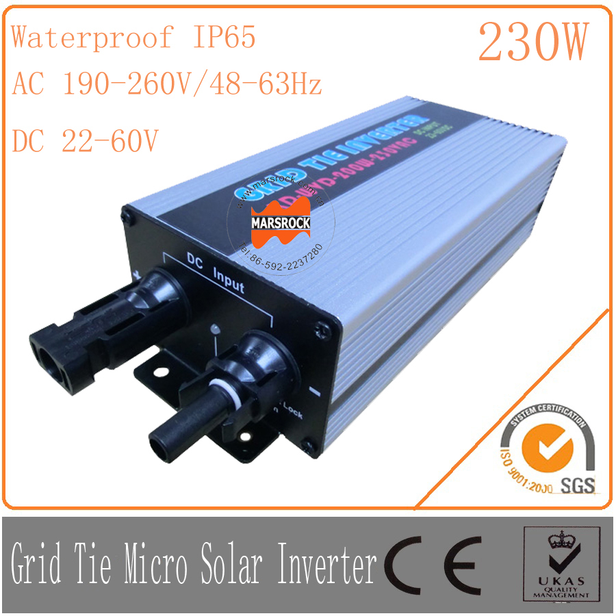230W 22-60VDC 190-260VAC, Waterproof IP65Grid tie micro solar inverter with on grid PV inverter can used with 300W PV panel solar power on grid tie mini 300w inverter with mppt funciton dc 10 8 30v input to ac output no extra shipping fee