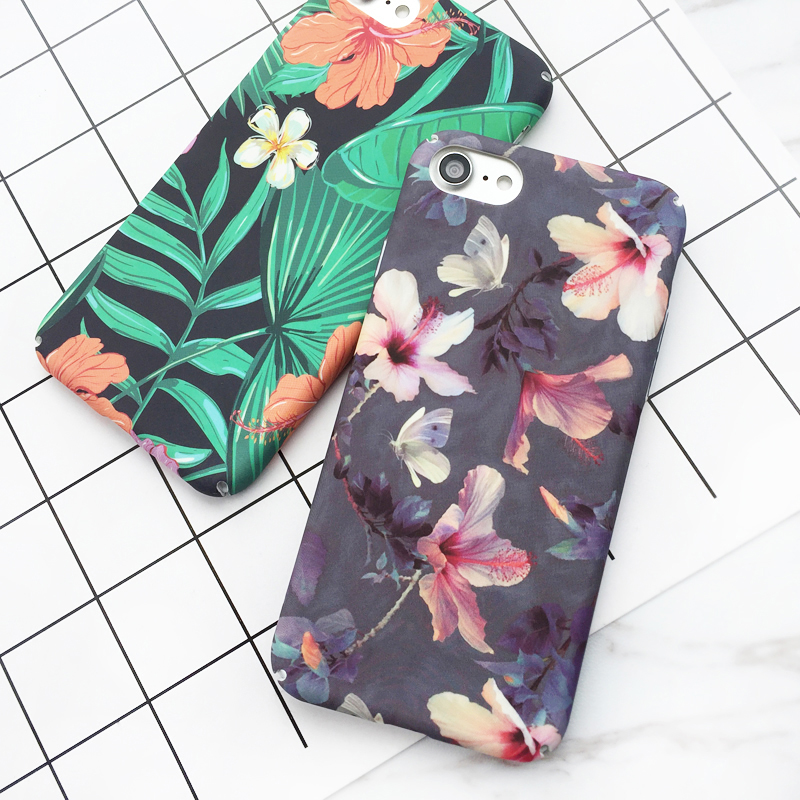 Banana Leaf Flowers Cherry Plants Phone Iphone XR XS Max 5 5S SE 6 6S 7 8 Plus X Hard Scrub Phone Bags &Amp; Case
