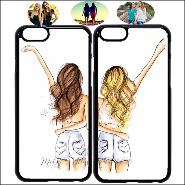 buy popular 5ff13 7df27 US $3.0  Cute BFF Crazy Girls BFF Best Friend Matching Phone Case Cover For  iPhone X 7 8 Plus XR Xs Max 6 6s Samsung + Tempered Glass A55-in Fitted ...