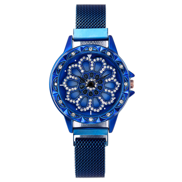 360 Degree Rotation Women Mesh Magnet Buckle Starry Sky Watch Luxury Fashion Ladies Geometric Quartz Watch Relogio Feminino 4