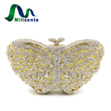 Women Butterfly Shape Luxury Crystal Evening Bag with Chain Sisters Party Handbag Wedding Clutch Gold Silver Green