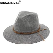 SHOWERSMILE Vintage Sun Hat Women Summer Cotton Fedoras Female Grey Elegant Bowknot Panama Hats Ladies Brand Classic Jazz Cap
