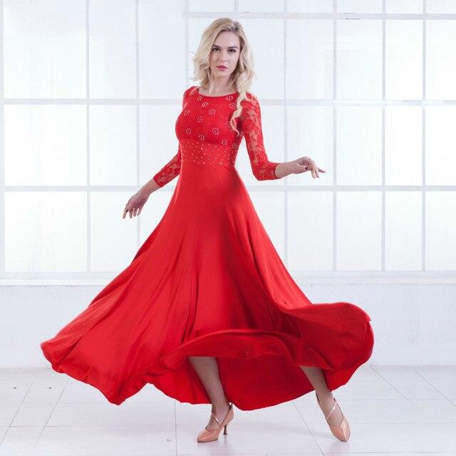 Современный танец платье с длинным рукавом бальные танцы будет маятник платье бальные танцы платье для вальса